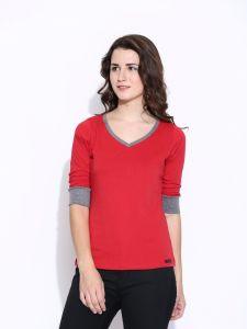 Cult Fiction Red Cotton Three Quarter Length Tee For Women