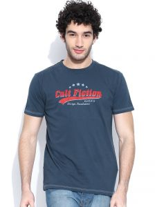 Cult Fiction Basic Round Neck With Graphic Dark Blue T-shirt For Mens
