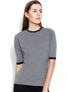Cult Fiction Grey Solid Round Neck Womens T-shirt