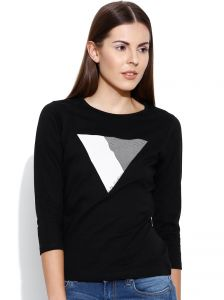 Cult Fiction Black Graphic Print Round Neck Womens T-shirt