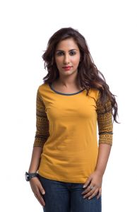 "Cult Fiction Cotton Yellow Solid Women""s Round Neck T-shirt-(code-cfg11aw465)"