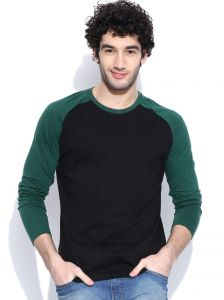 Cult Fiction Raglan/contrast Sleeve Dark Green T-shirt For Mens