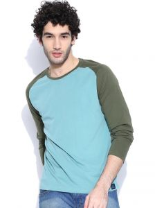 Cult Fiction Raglan/contrast Sleeve Light Blue T-shirt For Mens