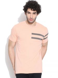 Cult Fiction Round Neck With Printed Stripe Light Peach T-shirt For Mens