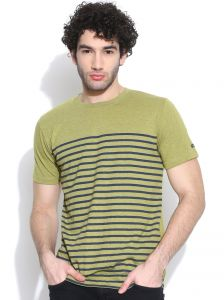 Cult Fiction Round Neck With Printed Stripe Green Marl T-shirt For Mens