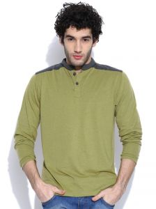 Cult Fiction Henleys / Long Sleeves Green Marl T-shirt For Mens