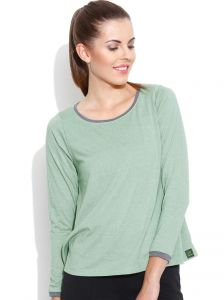 Cult Fiction A-line With Full Sleeves Tee L-green Marl T- Shirts For Womens