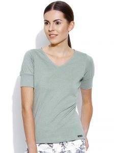 Cult Fiction Light Green Solid V-neck Womens T-shirt