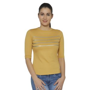 Cult Fiction Awker Melange Color Round Neck 3/4th Sleeves Cotton Tshirt For Womens