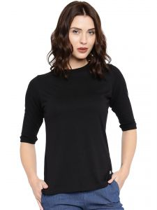 Cult Fiction Black Color 3/4th Sleeves Round Neck Cotton Tshirt For Women