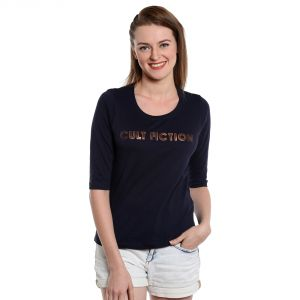 Cult Fiction Navy Blue Color Round Neck Short Sleeves Cotton Tshirt For Womens