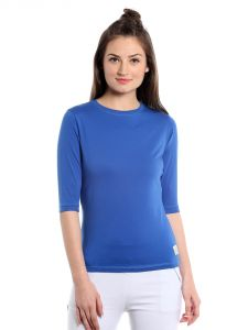 Cult Fiction Comfort Fit 100% Cotton Fabric Royal Blue Round Neck T-shirt For Women