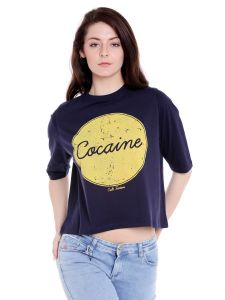 Cult Fiction High Neck Navy Blue Graphic Print Cotton T-shirt For Women(code-cfg01ny2110)