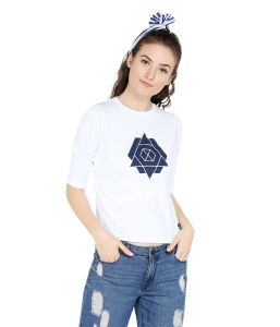Cult Fiction Comfort Fit 100% Cotton Fabric White Round Neck T-shirt For Women-cfg01wh2018