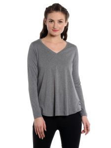 Cult Fiction Comfort Fit 100% Cotton Fabric Grey Melange V-neck T-shirt For Women-cfg02grm2022