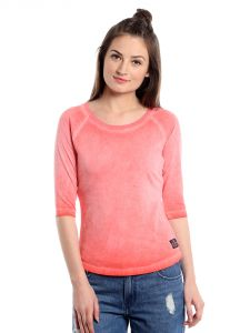 Cult Fiction Comfort Fit 100% Cotton Fabric Peach Scoop Neck T-shirt For Women