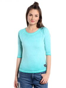 Cult Fiction Comfort Fit 100% Cotton Fabric Mint Blue Scoop Neck T-shirt For Women