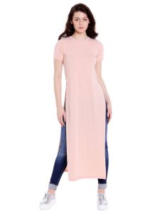 Cult Fiction Round Neck Pink Half Sleeve Cotton Long Tee For Women(code -cfg04pnkm2118)