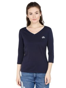 Cult Fiction Comfort Fit 100% Cotton Fabric Navy Blue V-neck T-shirt For Women-cfg06dn851
