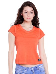 Cult Fiction V-neck Orange Cap Sleeve Cotton T-shirt For Women(code -cfg06org2000)