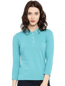 Cult Fiction Light Blue Color 3/4th Sleeves Cotton Polo Tshirt For Women