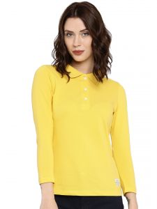 Cult Fiction Medium Yellow Color 3/4th Sleeves Cotton Polo Tshirt For Women