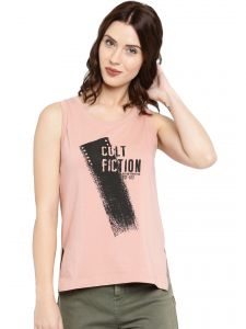 Cult Fiction Light Pink Color Sleeveless Round Neck Cotton Tshirt For Women