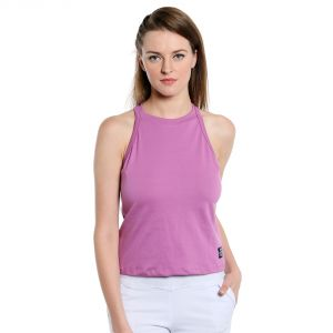 Cult Fiction Sleeveless Slim Fit High Neck New Pink Color T-shirt For Women-(code-cfg09npn1021)