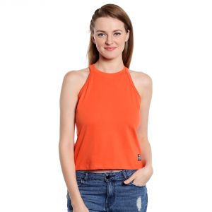 Cult Fiction Sleeveless Slim Fit High Neck Orange Color T-shirt For Women-(code-cfg09org1021)