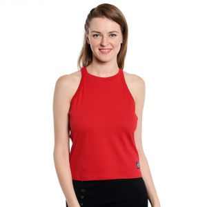 Cult Fiction Sleeveless Slim Fit High Neck Red Color T-shirt For Women-(code-cfg09r1021)