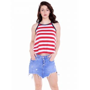 Cult Fiction Regular Fit Cotton Fabric Red&white Round Neck Tank Tee For Women(code-cfg09strp2048)
