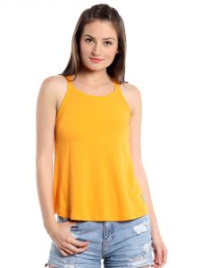 Cult Fiction Comfort Fit 100% Cotton Fabric Dark Yellow Round Neck A-line Top For Women