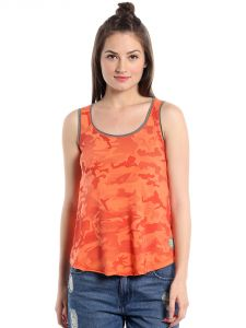 Cult Fiction Comfort Fit 100% Cotton Fabric Medium Orange Scoop Neck Tank Top For Women