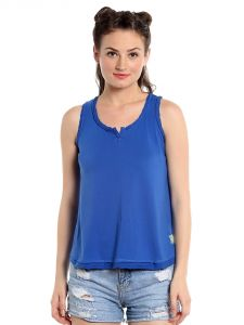 Cult Fiction Comfort Fit 100% Cotton Fabric Royal Blue Scoop Neck Tank Top For Women