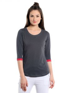Cult Fiction Comfort Fit 100% Cotton Fabric Charcoal Scoop Neck T-shirt For Women