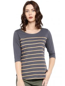 Cult Fiction Charcoal Color 3/4th Sleeves Round Neck Cotton Tshirt For Women