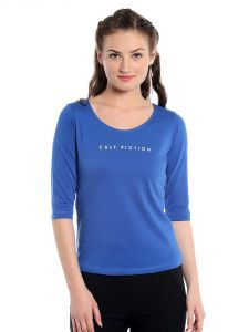 Cult Fiction Comfort Fit 100% Cotton Fabric Royal Blue Scoop Neck T-shirt For Women