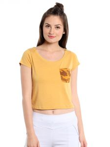 Cult Fiction Comfort Fit Polyester Cotton Fabric Awker Marl Scoop Neck T-shirt For Women