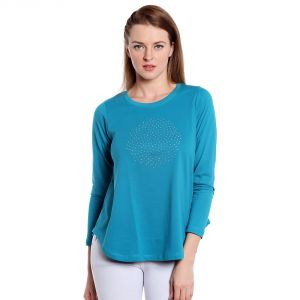 Cult Fiction Long Sleeves Comfort Fit Round Neck Turquoise Blue Color T-shirt For Women-(code-cfg20tb1023)