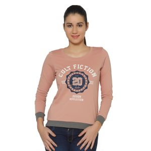 Cult Fiction Light Pink Color Round Neck Long Sleeves Cotton Tshirt For Womens