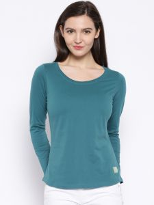 Cult Fiction Green Color Scoop Neck Tshirt For Womens