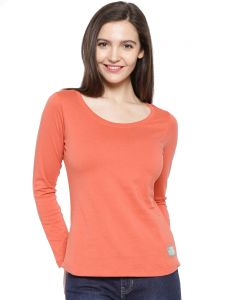 Cult Fiction Orange Color Scoop Neck Tshirt For Womens