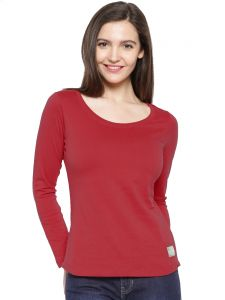 Cult Fiction Maroon Color Scoop Neck 3/4th Sleeves Cotton Tshirt For Womens