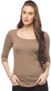 Cult Fiction Cotton Fabric Full Sleeves Scoop Neck Brown Color T-shirt For Women