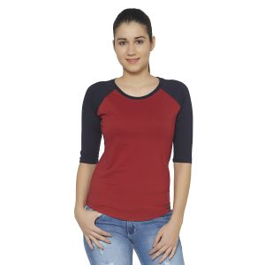 Cult Fiction Maroon Color Round Neck 3/4th Sleeves Cotton Tshirt For Womens