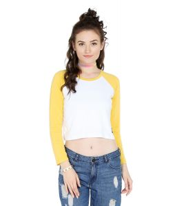Cult Fiction Comfort Fit 100% Cotton Fabric Medium Yellow Round Neck T-shirt For Women-cfg3my2015