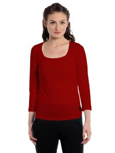 Cult Fiction Comfort Fit 100% Cotton Fabric Red Square Neck T-shirt For Women-cfg3r583