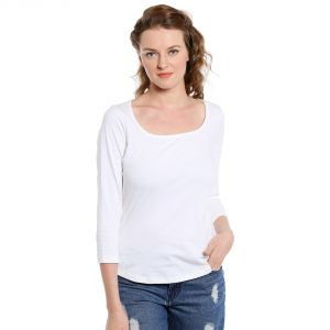 Cult Fiction 3/4th Sleeves Comfort Fit Scoop Neck White Color T-shirt For Women-(code-cfg3wh583)