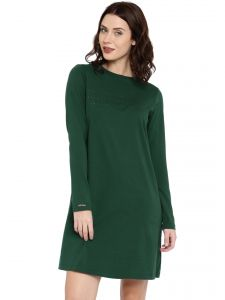 Cult Fiction Dark Green Color Full Sleeves Round Neck Cotton Tshirt Dress For Women
