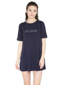 Cult Fiction Comfort Fit 100% Cotton Fabric Navy Blue Round Neck Dress For Women-cfg40dn2001